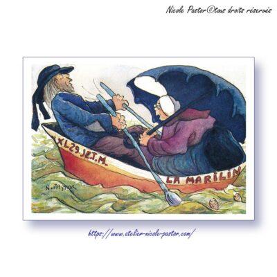 """La Barque. Carte postale """"Les Bigoudenes de Nicole Pastor"""".2000"""