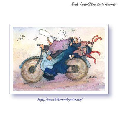 "Carte postale ""Les Bigoudenes de Nicole Pastor"". La bicyclette bleue. 2000"