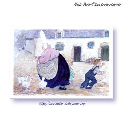 Vacances à la ferme. Carte postale Les Bigoudenes de Nicole Pastor 1999