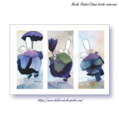 Tryptique moto. Carte postale Les Bigoudenes de Nicole Pastor. 1998