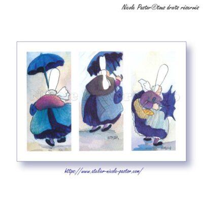 Triptyque pluie. Carte postale Les Bigoudenes de Nicole Pastor. 1998