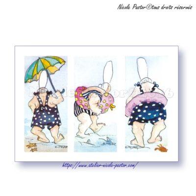 Plage, maillots de bain et bouee canard. Carte postale humour N.Pastor