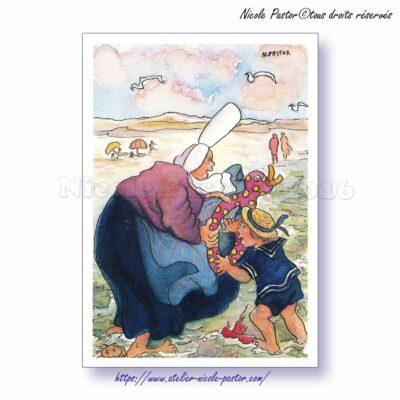 La Plage. Carte postale Les Bigoudènes de Nicole Pastor