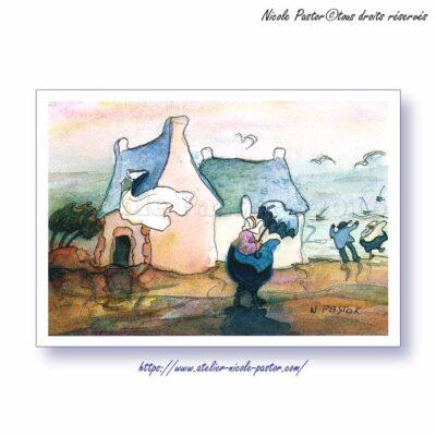 Tempête en pays bigouden. Carte postale Les Bigoudènes de Nicole Pastor.