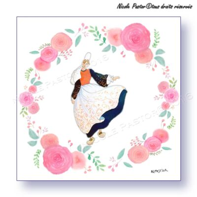 Carte d'art. Danseuse en costume bigouden dans une couronne de roses stylisées