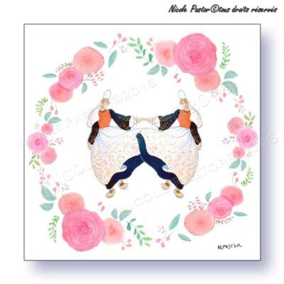 Carte d'art. Danseuses miroir en costume bigouden & roses stylisées