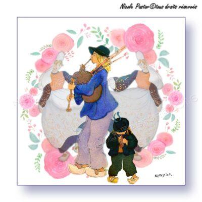 Carte d'art. Danseuses bigoudenes et Sonneurs bretons dans une couronne de roses.