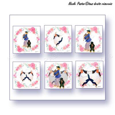 Lot 6 cartes d'art. Sonneurs & danseuses bigoudenes. Couronne de roses