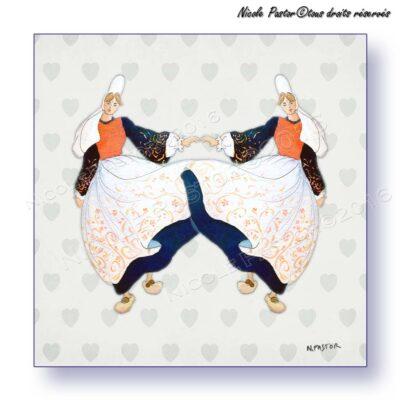 Carte d'art mignonnette. Danseuses bigoudènes en costume bigouden