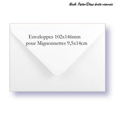 Enveloppe mignonnette blanche 102x146mm pour cartes de vœux
