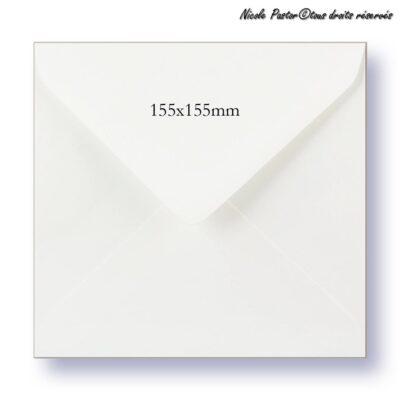 Enveloppe carree blanche gommée pour cartes de vœux 15x15cm