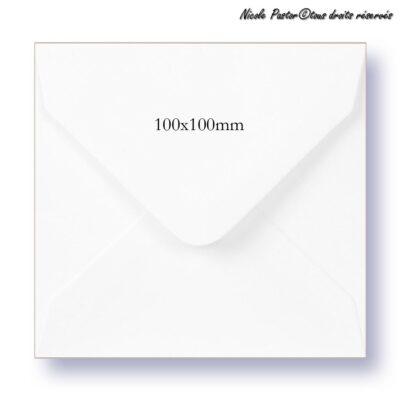 Enveloppe carree blanche gommée pour mini cartes de vœux 10x10cm