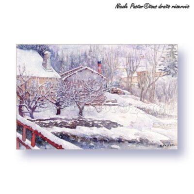 Carte d'art. Paysage d'hiver. Les arbres en neige.
