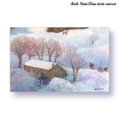 Carte d'art. Paysage d'hiver. Aquarelle Le renard apprivoise