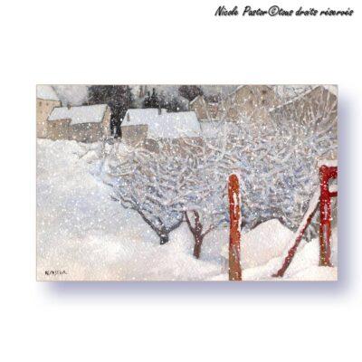 Carte d'art. Paysage d'hiver. Aquarelle La barriere rouge