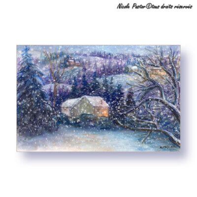 Carte d'art. Paysage d'hiver. Aquarelle Village de montagne dans la nuit