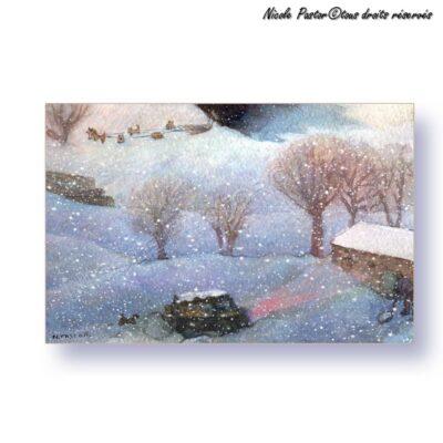 Carte d'art. Paysage d'hiver. Aquarelle Les chiens de traineaux