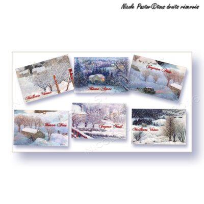 Lot six cartes mignonnettes paysages de neige, joyeux noel