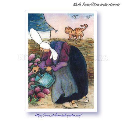 La Dame aux Hortensias. Carte postale Les Bigoudènes de Nicole Pastor.