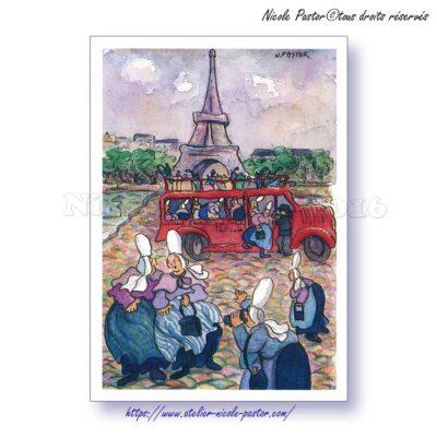 La Tour Eiffel. Carte postale Les Bigoudènes de Nicole Pastor