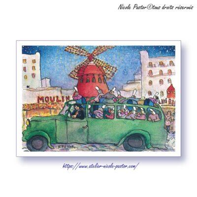 Moulin rouge et Pigalle. Bigoudenes humour. Carte postale N.Pastor.