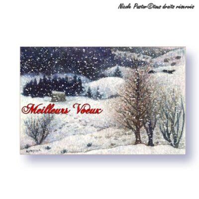 Paysage de montagne sous la neige. Mignonnette Meilleurs vœux