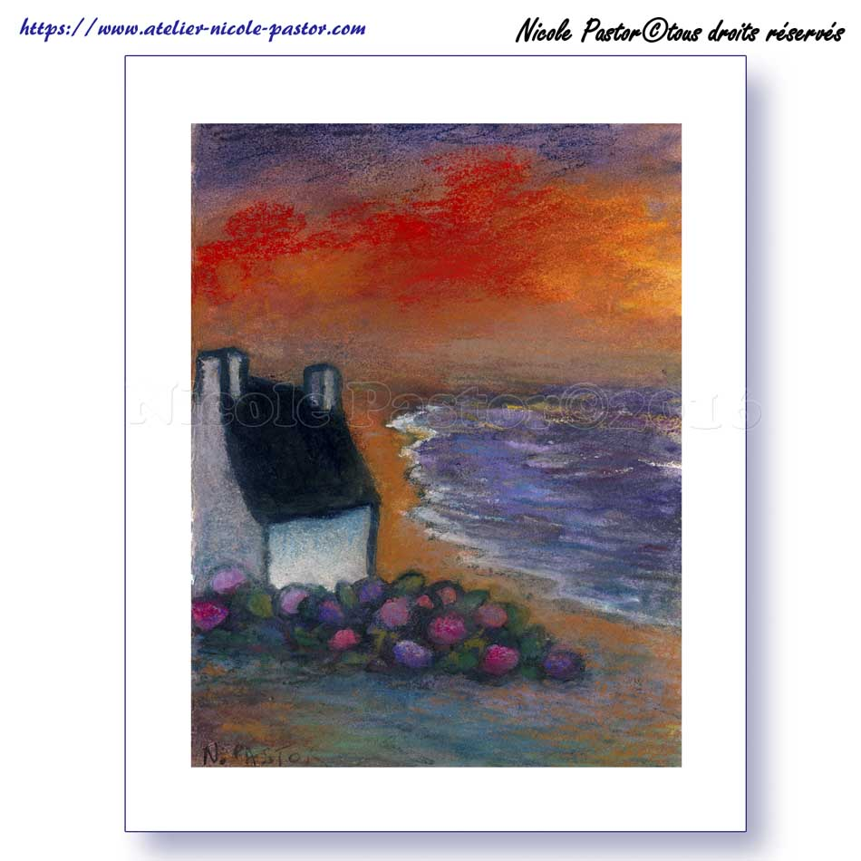 poster grand format ciel d 39 orage en bretagne paysage breton reproduction de pastel nicole pastor. Black Bedroom Furniture Sets. Home Design Ideas