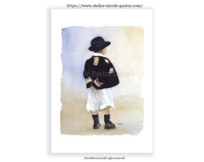 petit garçon en costume de Pont-Aven. Cornouailles.