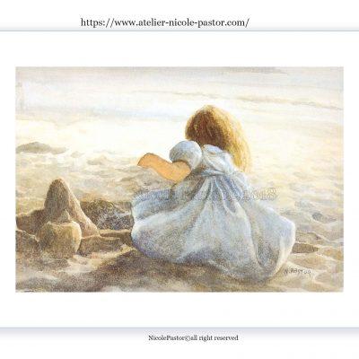 Aquarelle Anaïs au chateau de sable