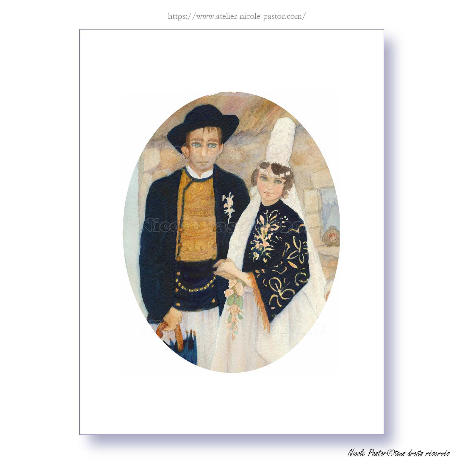 Les jeunes mariés. Aquarelle Nicole Pastor Bigoudenes