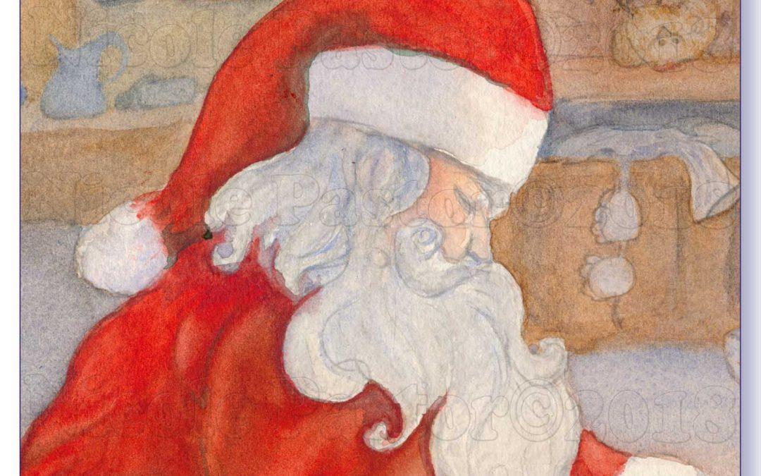 Noël Bigouden. L'arrivée du Père Noël! Aquarelle de Nicole Pastor