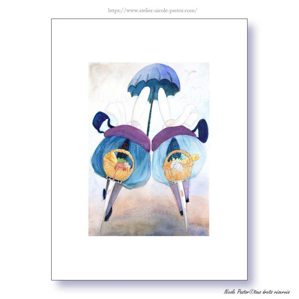 Un parapluie pour deux vélos. Bigoudenes Nicole Pastor