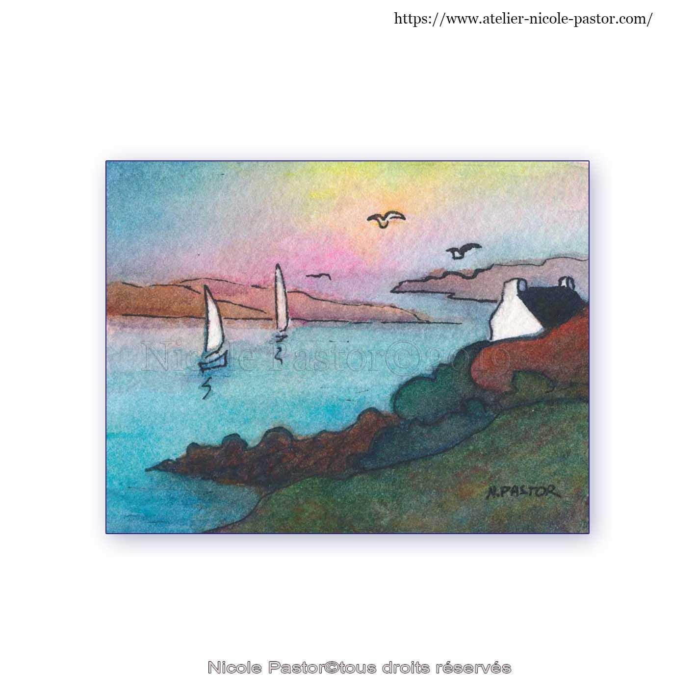 Maisons bretonnes au crépuscule