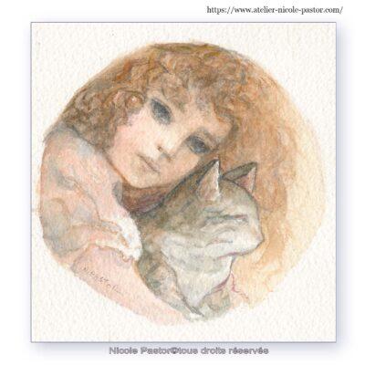 Petite fille au chat.