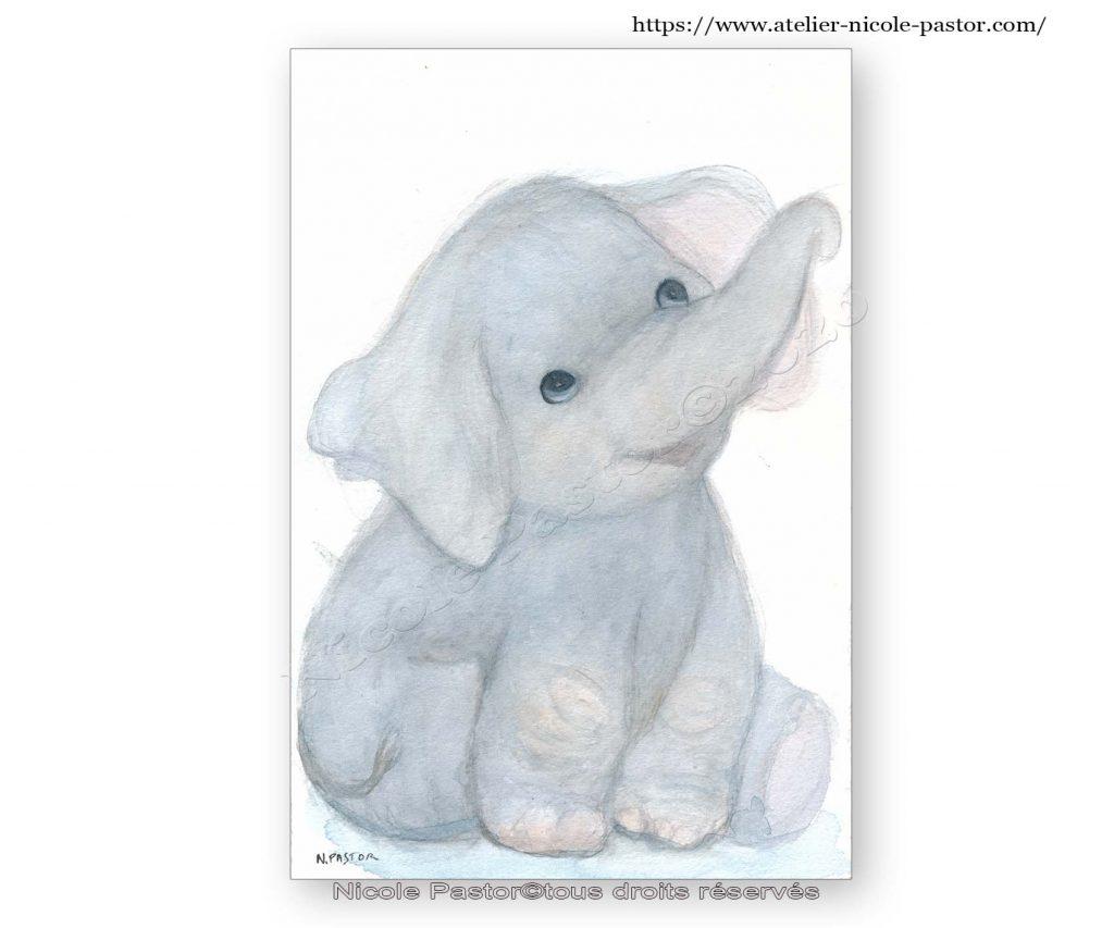 Un petit éléphant bien attachant. Aquarelle originale.