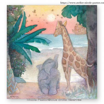 Olifant, le petit éléphant et son amie la girafe