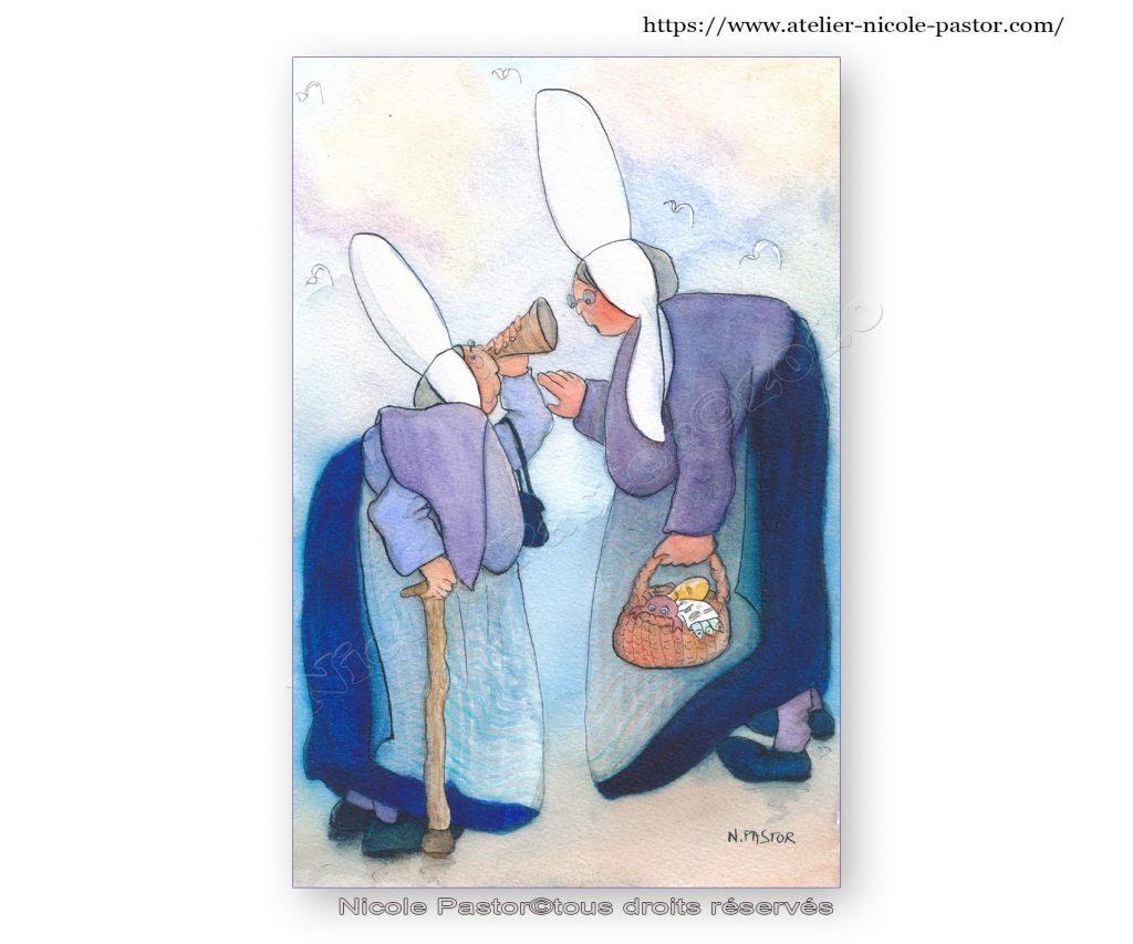 Conchenous et sonotone. Aquarelle originale les Bigoudènes de Nicole Pastor