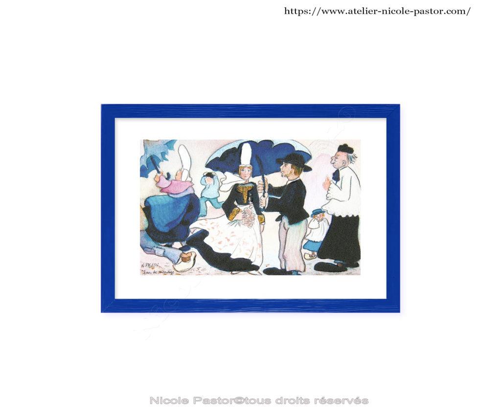Mariage par grand vent en pays bigouden. Cadre bleu