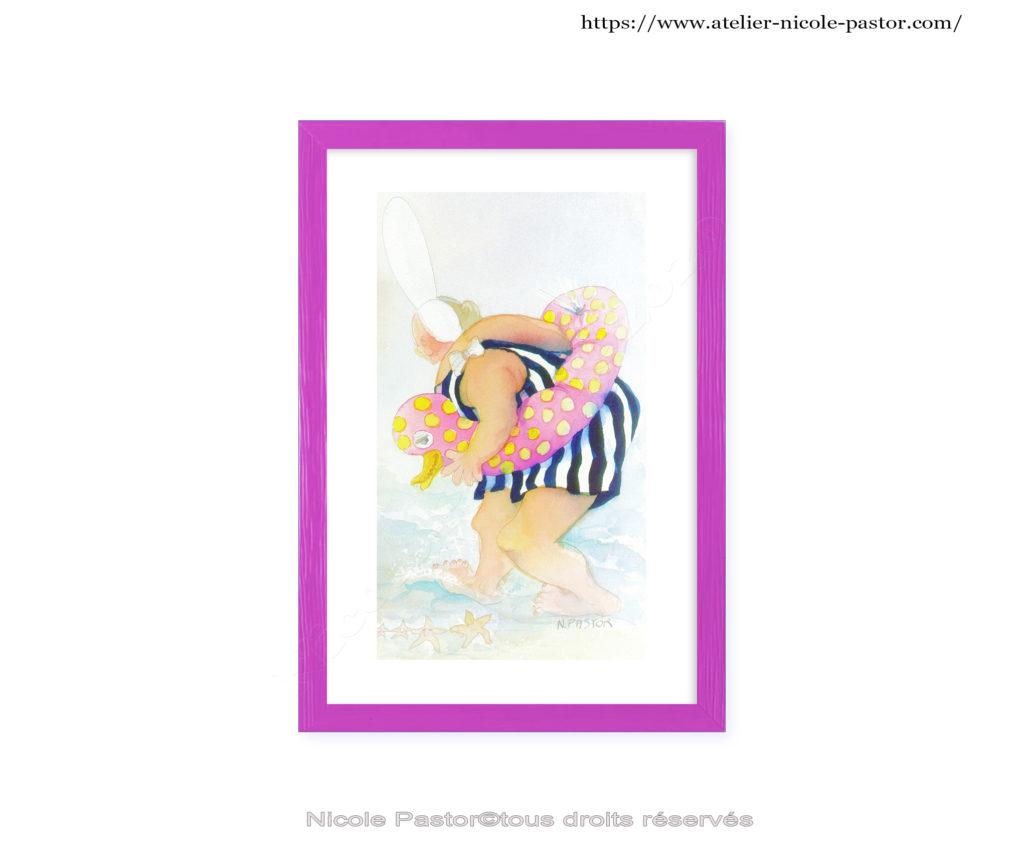Aquarelle de Nicole Pastor, présentée avec le cadre. Poésie et humours sont au rendez-vous...