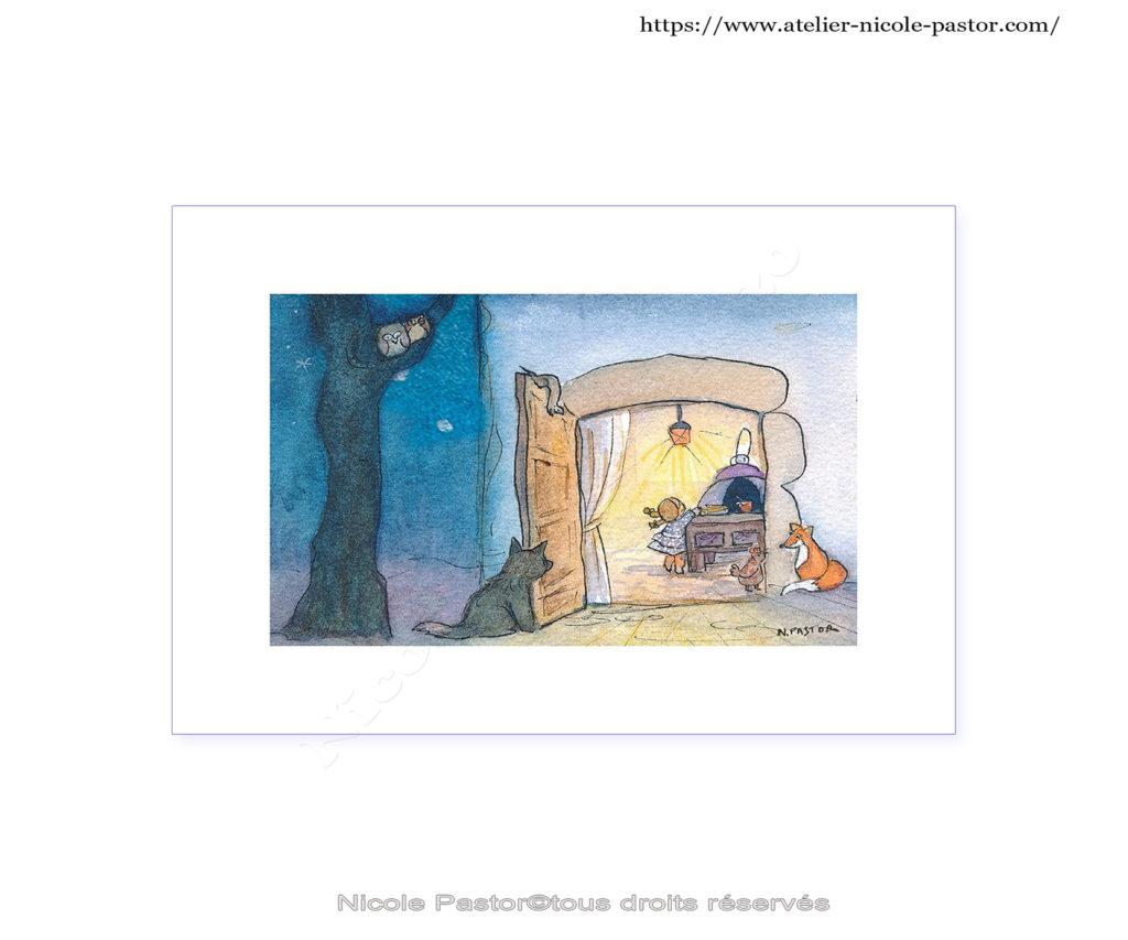 Aquarelle de Nicole Pastor, artiste peintre aquarelliste. Illustrations drôles et tendres à la fois!