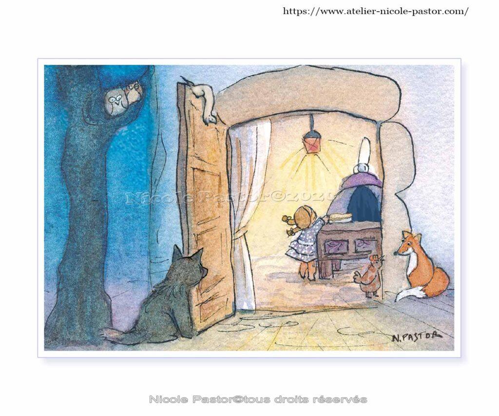 Le loup, le renard et la belette. Carte postale 2020 Les Bigoudènes Nicole Pastor